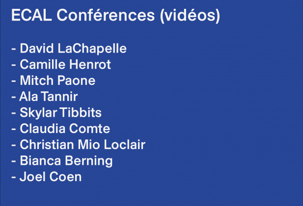 ECAL Conferences (videos) Every week, publication of a new conference which took place at ECAL in 2019 26377