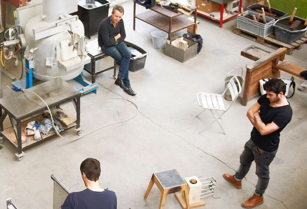 Matteo Gonet (left), Ronan Bouroullec (center), Philipp Grundhöfer (right) at Matteo Gonet's workshop in Basel 2040