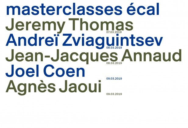 Rencontres 7e Art Lausanne, Masterclasses ECAL: Jeremy Thomas, Andreï Zviaguintsev, Jean-Jacques Annaud, Joel Coen, Agnès Jaoui From 7 to 9 March 2019, ECAL 22343